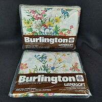 Burlington Lustersoft No Iron Fortrel Rayon Sheets Full Flat & Fitted Set Floral