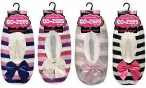 Ladies Womens Cozees Sherpa Fleece Lined stripe Gripper Slipper Socks Size 4-7
