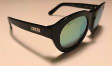 DIFF Eyewear Handmade Acetate Dime Polarized Sunglasses BK-GR02P Black Green Len