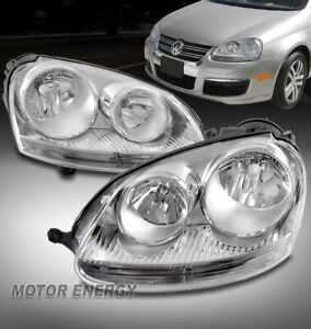 For 05-10 Volkswagen Jetta Sedan/06-09 GTI Rabbit Halogen Headlights Lamp Chrome