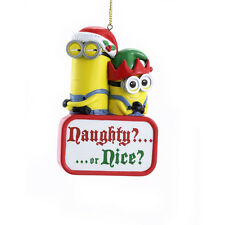 "Kurt Adler Christmas Minions Despicable Me Naughty/Nice Ornament 3.7"" New DE1153"