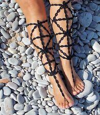 Crochet Barefoot Sandals-Black-Gladiator-Handmade- Foot Jewelry-One size-Beach