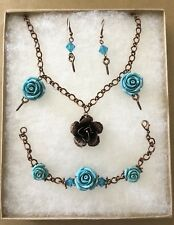 Rose & Thorn Set Necklace/Bracelet/Earrings Turquoise Gift Box handmade USA 896