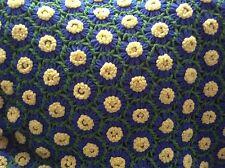 "VTG Handmade Crochet 3D Daisy Afghan Throw Blanket Blue Yellow Green 50"" x 66"""