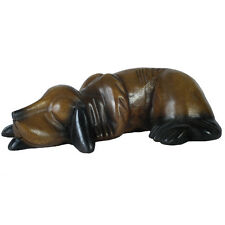 ACACIA WOODEN SLEEPING DOG LARGE 33CM HAND CARVED ANIMAL FIGURE ORNAMENT