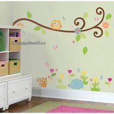 Owl Scroll Tree Branch Wall Vinyl Decal Removable Stickers Baby Kid Nursery Room