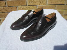 Vintage BARCLAY USA Black Cherry Wing Tip W/ Tassles Slip On Leather Shoes 8 D