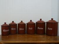 Antike Email Gewürzdosen Vorratsdosen Emaildosen 6 Stück aus Frankreich