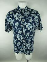 Vintage Big Dogs Men sz S/M Blue Cotton Rayon Floral Button-Front Hawaiian Shirt
