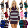 Womens Long Cowl Neck Striped Knitted Ladies Jumper Casual Tunic Dress Top