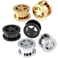 Pair Rock Star Titanium Star Screw On Hollow Tunnels Ear Plugs Earlets Gauges