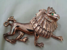 RETRO  FABULOUS LION DESIGN BROOCH W, ROSE GOLD PLATED METAL
