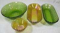 Set of Four Collectable Glass 2 Round Bowls and 2 Carnival Oblong Celery Dishes