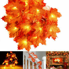 2x Fall Maple Leaf Garland LED Maple Leaves Fairy String Light Thanksgiving Xmas