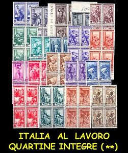 ITALIA 1950 Repubblica Serie Italia al Lavoro MNH ** in quartine integre !