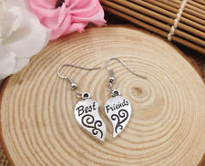 Cute New Tibetan Silver Best Friends Charm Dangle Drop Earrings