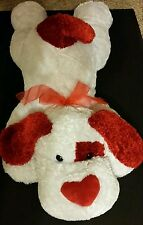 "DAN DEE HUGE 40"" PLUSH DOG PUPPY Soft Floppy Red White Red Pillow CLEAN EUC"