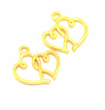 Wholesale 12pcs Tibet silver Double Heart Charm Pendant beads Jewelry Making NEW