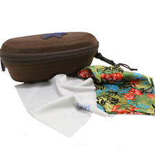 NEW Maui Jim Sport Case Bundle - Large Brown Zippered w/ Sunglass Pouch & Cloth