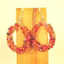 "1 1/2"" Orange Gold Multi Color Bohemian Handmade Seed Bead Hoop Earring"