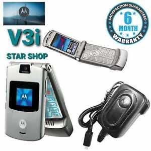 Genuine Motorola V3i Silver Unlocked Classic Flip Phone with warranty-Free Post