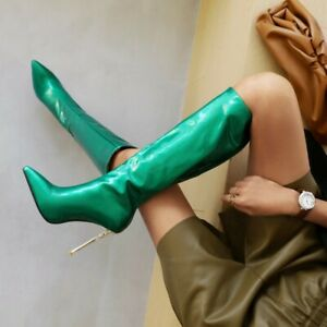 Sexy Women Pointed Patent Leather Zipper Knee High Boots Stiletto Heels Oversize