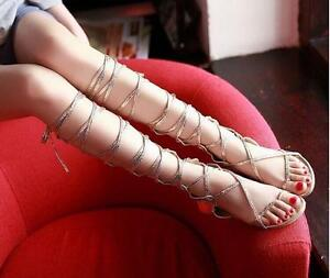 Roman Lady Gladiator Women's Strappy Roman Flat Sandals Lace Up Knee High Boots