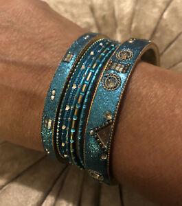 Set Of 7 Turquoise Blue Rhinestone Mirror Glitter Bollywood Jingle Bangles NEW