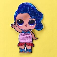 LOL DOLL SEQUIN FABRIC APPLIQUÉ PATCH SEW ON GIRLS CHARACTER SPLASH QUEEN