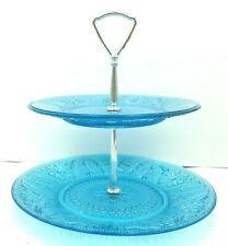 Tiara Blue Glass Sandwich Serving Tray 2 Tier Tidbit Indiana Glass Vintage