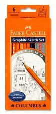 FABER Castell Grafite Schizzo Set Pack 6 & GOMMA E TEMPERAMATITE (2h, HB, B, 2b, 4b, 6b)