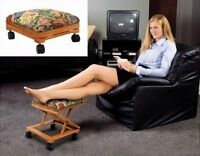 Footrest Fold-A-Way Tapestry Elevated Foot Stool Adjustable Foot Rest Rolling