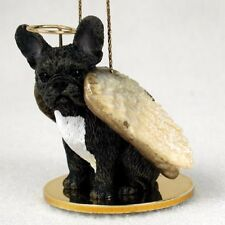 FRENCH BULLDOG dog ANGEL Ornament resin Figurine Christmas Blk Brindle FRENCHIE