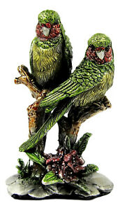 Miniature Metal Green, Grey, Red Parrot Figurine Approx 6cm High