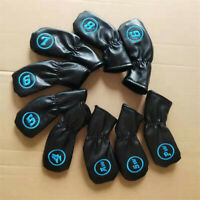 9X Soft Leather Golf Iron Covers Headcover for Taylormade Callaway Rogue Mizuno
