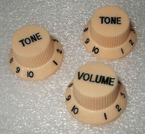 Electric Guitar Squier Stratocaster CREAM Control Knobs Volume & Tone Fender NEW