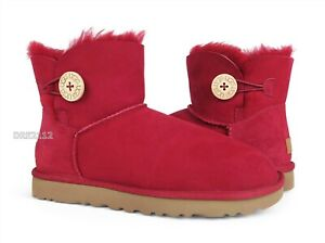 UGG Mini Bailey Button II Kiss Fur Boots Womens Size 10 *NIB*