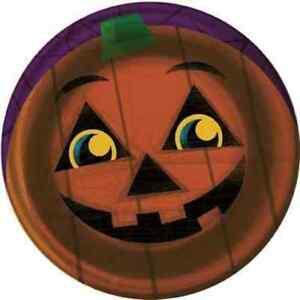 "Halloween Pals Pumpkin Jack O' Lantern Carnival Party 7"" Paper Dessert Plates"