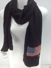 Women's RALPH LAUREN Black American Flag 80% WOOL Winter Scarf - $58 MSRP