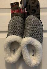 Beverly Rock Women's Sweater Fleece Lines Clog Slippers, Grey, M (7.5-8)