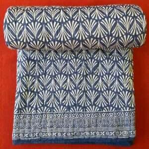 indian hand block printed indigo kantha quilt cotton bedding bedspread blanket