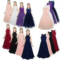 Pageant Dress Princess Party Wedding Bridesmaid Prom Flower Girl Dress Lace Gown