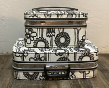 Vintage Samsonite Fashionaire Suitcase Set Of 2 Black And White Flower Power-60s