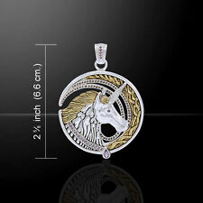Unicorn Silver and Gold Pendant by Peter Stone