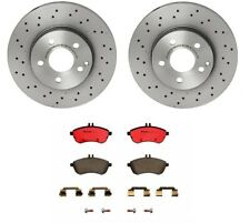 For Mercedes C204 C250 C300 Front Vented Drilled Brake Rotors & Pads Kit Brembo