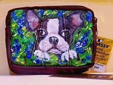 hand painted Boston Terrier dog portrait genuine leather coin purse keyring