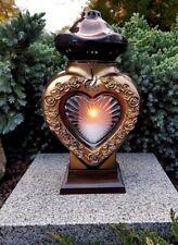 Grablaterne +LED Kerze Grablampe Lampe Grab Grableuchte Herz  Grablicht  Engel