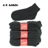 89c9e109f0f3 4 12 Pairs Kids Ankle High Cut Cotton Socks Solid Black Junior Size 4-6