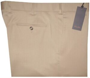 $395 NEW ZANELLA SOLID TAN SUPER 120'S WOOL + STRETCH DRESS PANTS 42