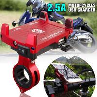 Alu Motorrad Halter Handy Halterung Smartphone Universal mit USB Ladegerät  *